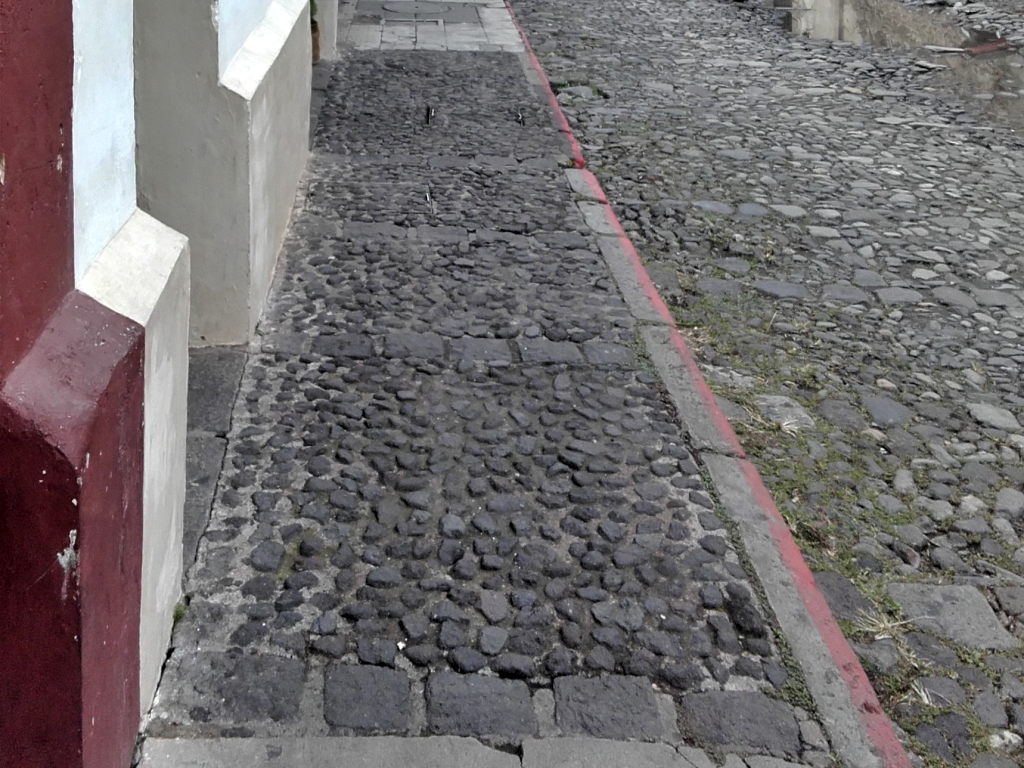 Cobblestone sidewalks are not all that comfortable to walk on