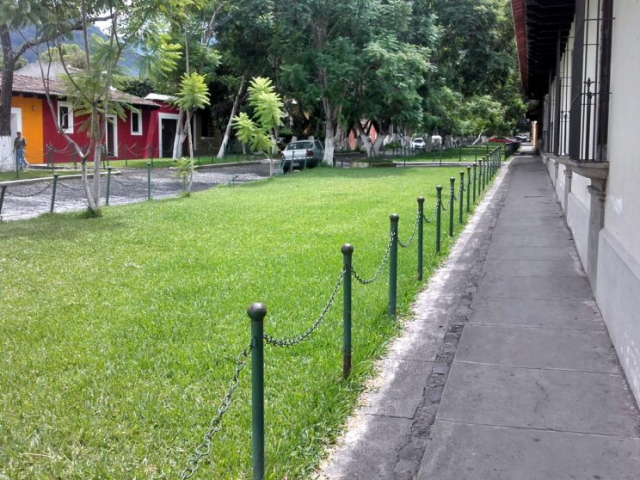 Sidewalks in Antigua Guatemala are mostly concrete nowadays